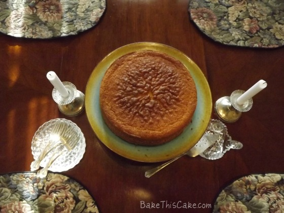 Boston Cake with Antique Silver Candled Holders Overhead Bake This Cake