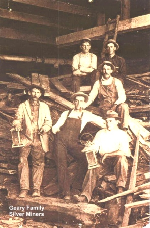 James William Geary and silver miners Geary Family postcard