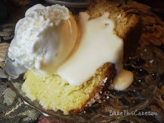 Slice of Boston Butter Cake with extra homemade ice cream bake this cake