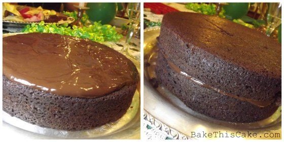 Filling the chocolate ale cake with ganache bakethiscake