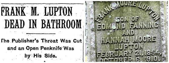 F M Lupton NY Times Headline and gravestone