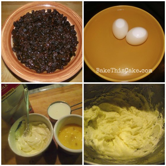 Raisins eggs butter collage for Clove Cake recipe Bake This Cake