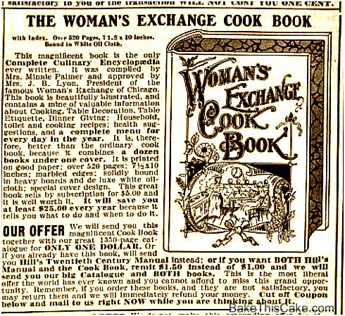 Ad for Woman's Exchange Cook Book The Interior Vol 36 1905 BakeThisCake