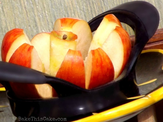 Apples sliced with an apple corer and slicing tool bake thisc ake