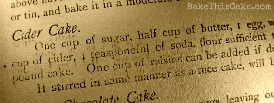 Cider Cake Recipe Woman's Exchange Cook Book Bake This Cake