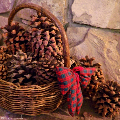 Pine cones by the fireplace for the holidays bake this cake