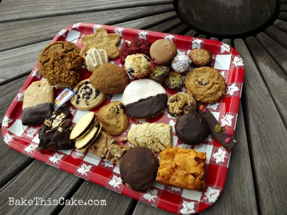 Red Vintage Tray filled with food bloggers holiday cookies bakethiscake