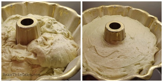 Smoothing cake batter for spice cake bake this cake