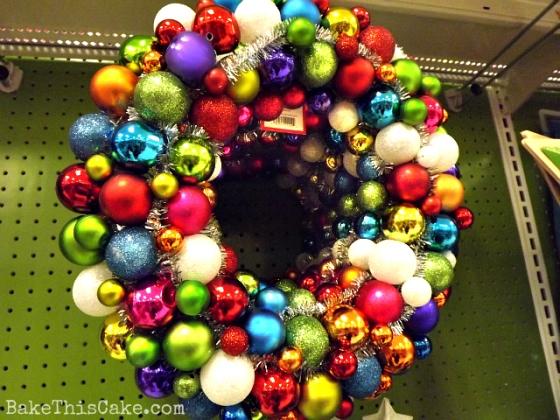 Colorful retro Target Christmas door wreath Bake hisCake