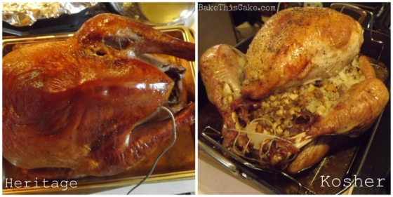 Heritage turkey left Kosher turkey right by BakeThisCake