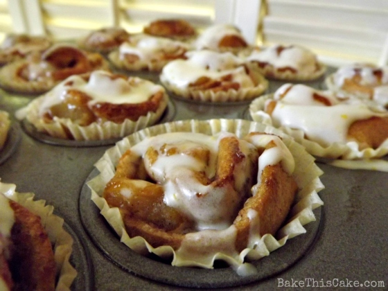 Mini Apple Cinnamon Rolls with morning coffee by BakeThisCake