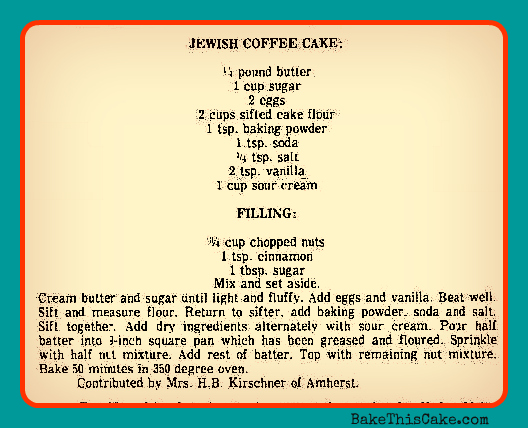 Jewish Coffee Cake Recipe 12-24-69 The Chronicle Telegram Elyria Ohio on card by bakethiscake