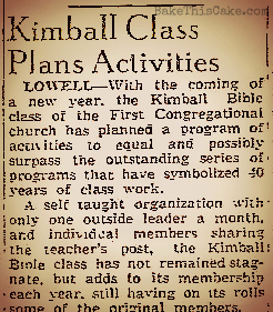 Kimball Class celebrates 40 years 5 Jan 1946 The Lowell Sun Mass bake this cake