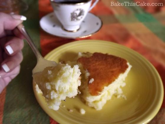 Lemon Pudding Cake Serving Bite w Rebekah Sister teacup bake this cake