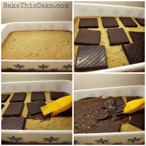 Melting Chocolate Squares on Hot Blonde Brownies by Bake This Cake