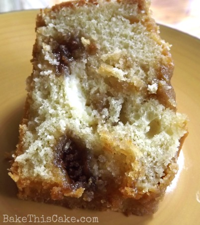 Vintage Jewish coffee cake recipe close up by bakethiscake