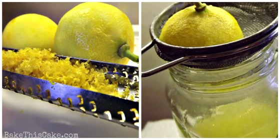 Zesting lemons and juicing lemons collage for pudding cake by bake this cake