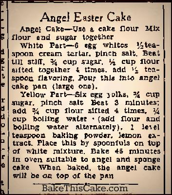 Angel Easter Cake Syracuse Herald 23 Mar 1932 BakeThisCake
