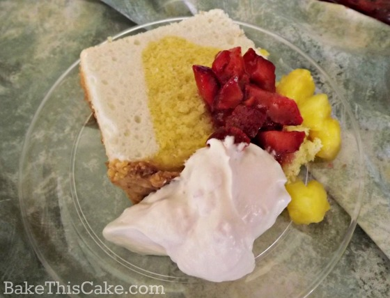 vintage Easter Angel Cake slice with Sarah Bernhardt Fruits by Bake This Cake
