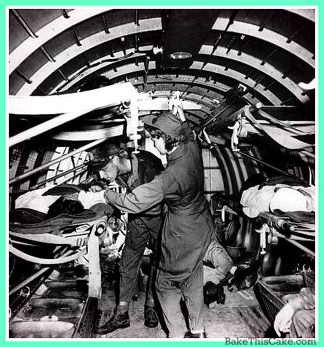 Flight Nurse giving plasma infusion in flight WWII