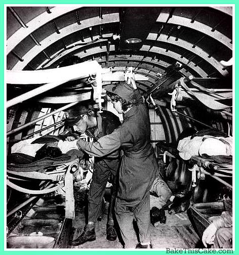 Flight Nurse giving plasma infusion in flight WWII