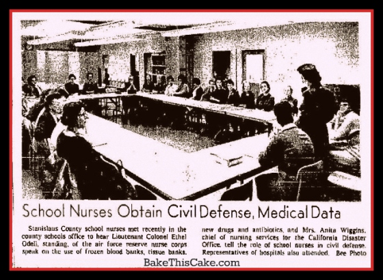 Lt Col Ethel Odell Air Force Reserve Nurse Corp speaking to Modsto nurses in 1962 about civil defense