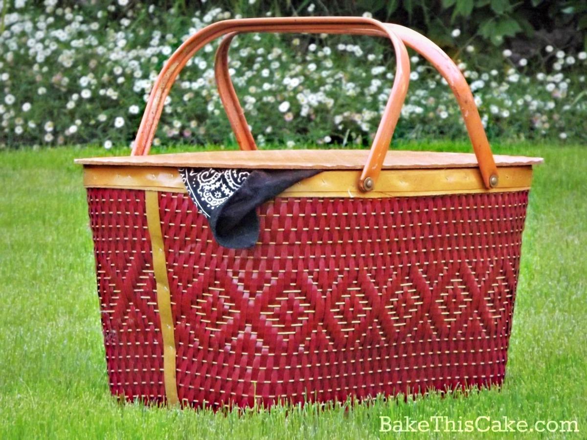 red wicker picnic basket bakethiscake