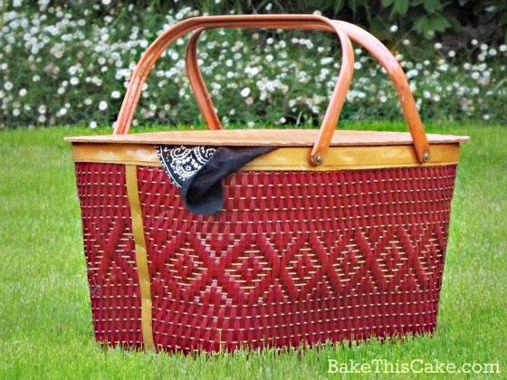 red wicker picnic basket bakethiscake