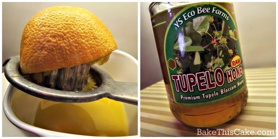 orange honey cake sauce collage by bake this cake