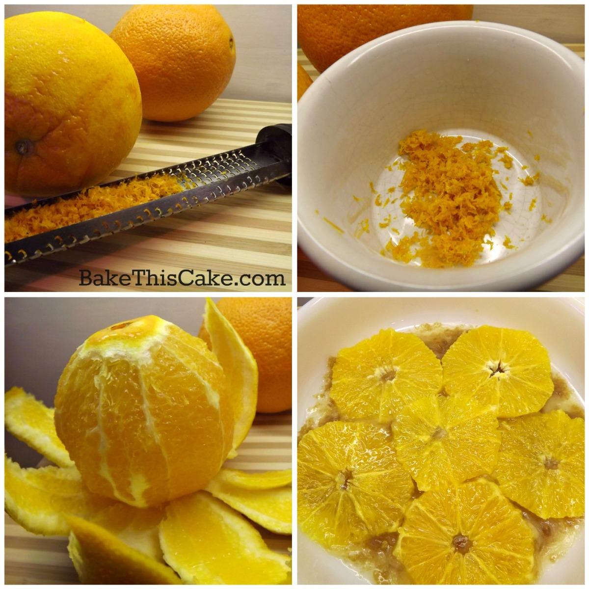 Preparing orange for orange upside down cake by bake this cake