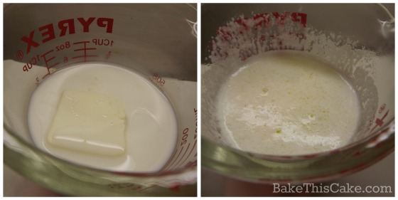 Boiled milk and butter for Lazy Daisy Cake recipe by bake this cake
