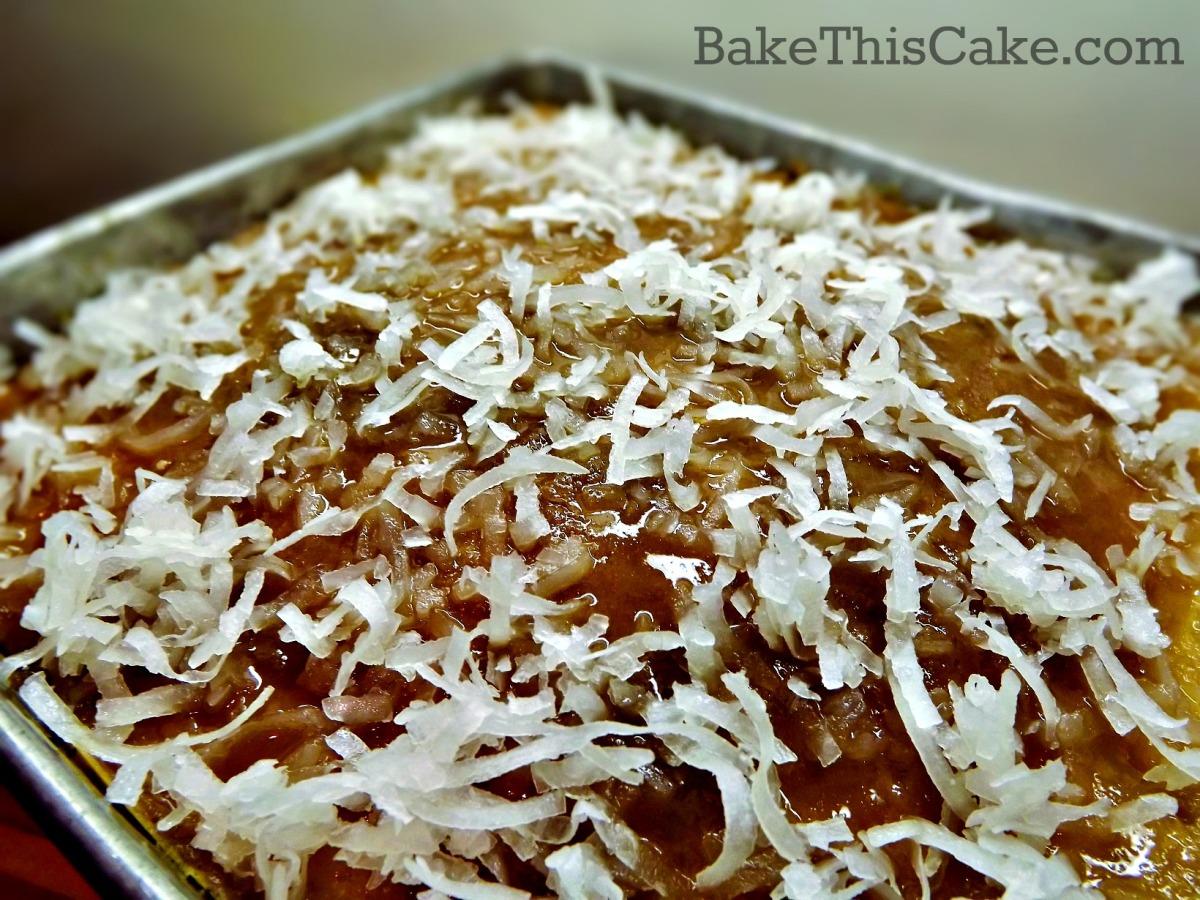 Coconut sprinkles for retro Lazy Daisy Cake recipe by Bake This Cake