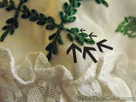 Lazy Daisy Cross Stitch on an apron bake this cake