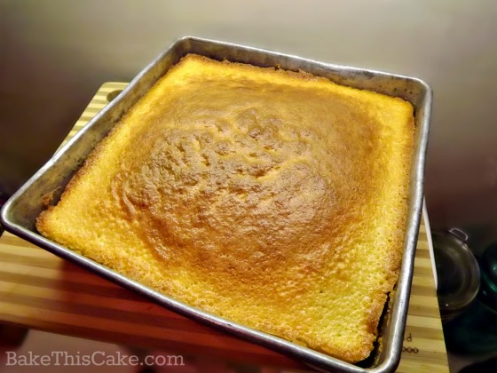 Lazy Daisy Yellow Cake baked in a brownie pan by BakeThisCake