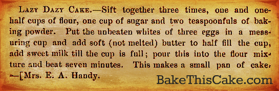 Lazy Dazy Cake recipe 1911 What We Cook on Cape Cod Lazy Daisy bakethiscake