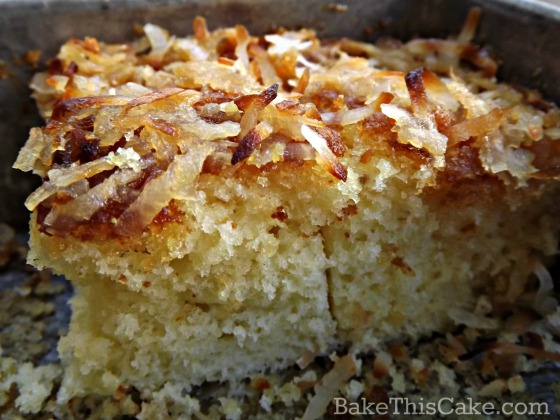 Vintage Lazy Daisy Cake recipe baked and cut for serving by bake tis cake