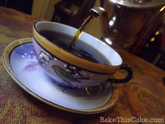 hand-painted vintage bird cup and saucer by bakethiscake