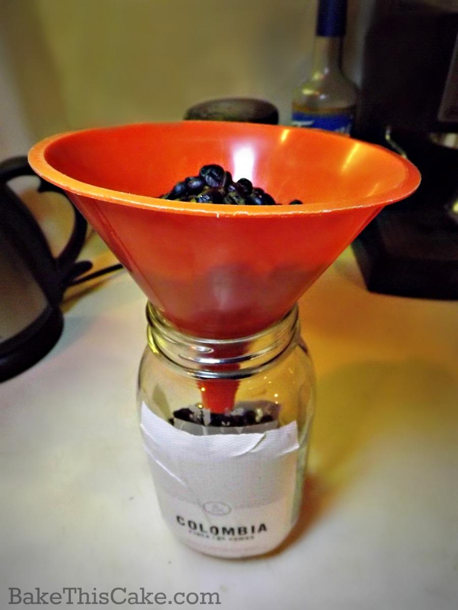 Coffee bean storage jar with orange funnel bakethiscake