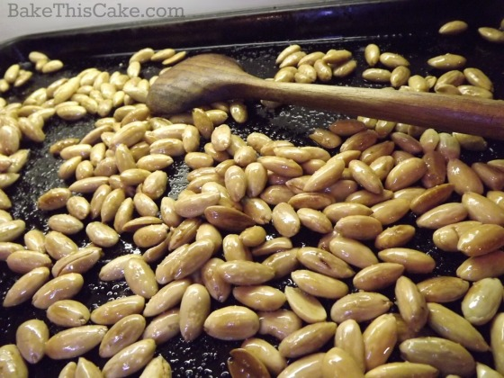 Home Roasted Almonds hot from the oven by bake this cake