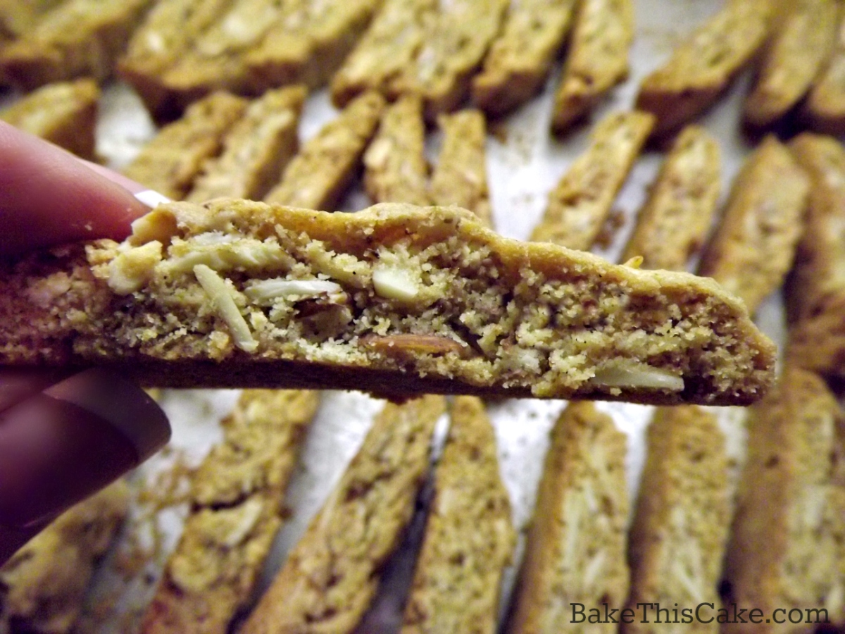 Homemade Buttery Biscotti with almonds and coffee close up by bake this cake