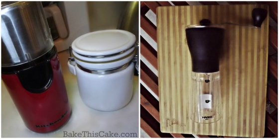 Red KitchenAid Coffee Grinder and Hario Slim Hand Coffee Grinder by bake this cake