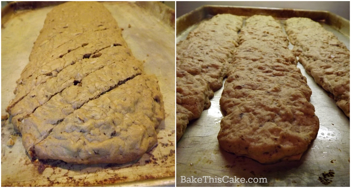Large and small biscotti loaves hot from the oven by bake this cake