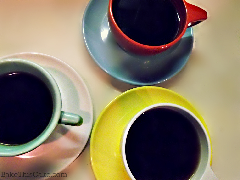Colorful Melamine Watertown Ware coffee cups and saucers by bake this cake