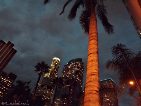 Downtown LA at night photo by Leslie Macchiarella