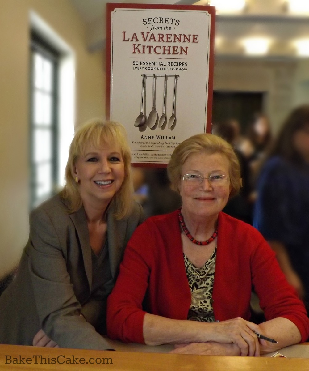 Leslie Macchiarella with Anne Willan at Culinary Historians of SoCal Lecture by bake this cake