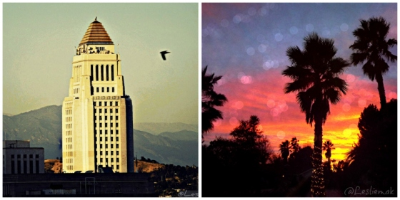 Los Angeles City Hall from PerchLA and Palm Trees at Sunset by Leslie Macchiarella