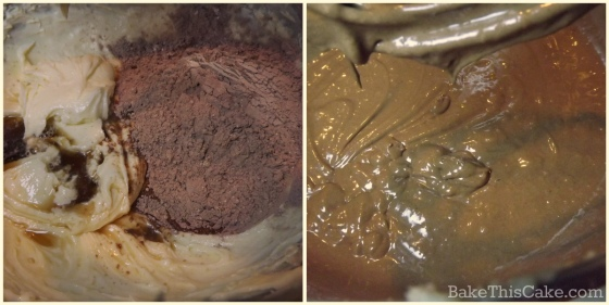 Mixing cocoa flour and wine into chocolate wine cake batter by bake this cake