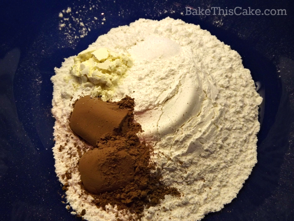 Cocoa and flour mixture for vintage natural red velvet cake by bake this cake