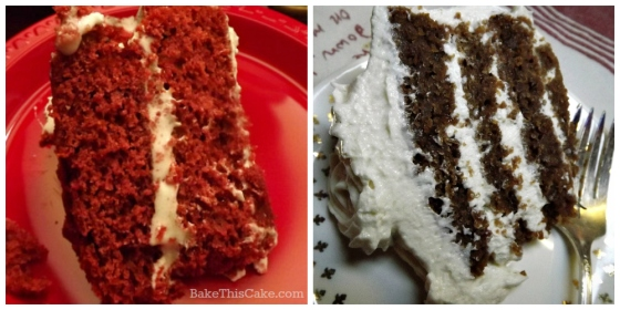Red Velvet Cake comparison with red food coloring and without by bakethiscake