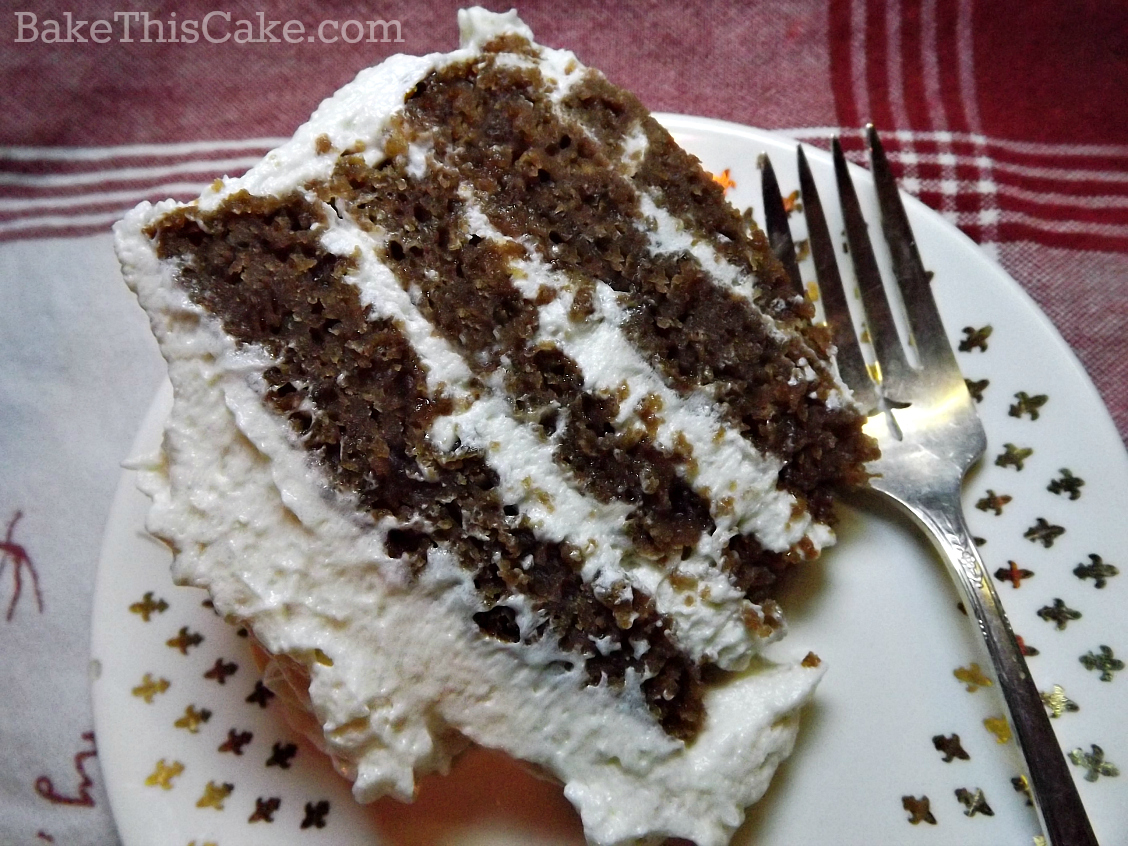 Slice of vintage brown velvet natural cake recipe by bake this cake
